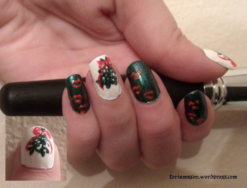 Meet Me Under the Mistletoe nail art by Toria Mason
