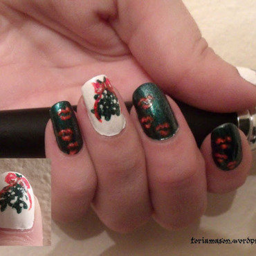 Meet Me Under the Mistletoe nail art by Toria Mason