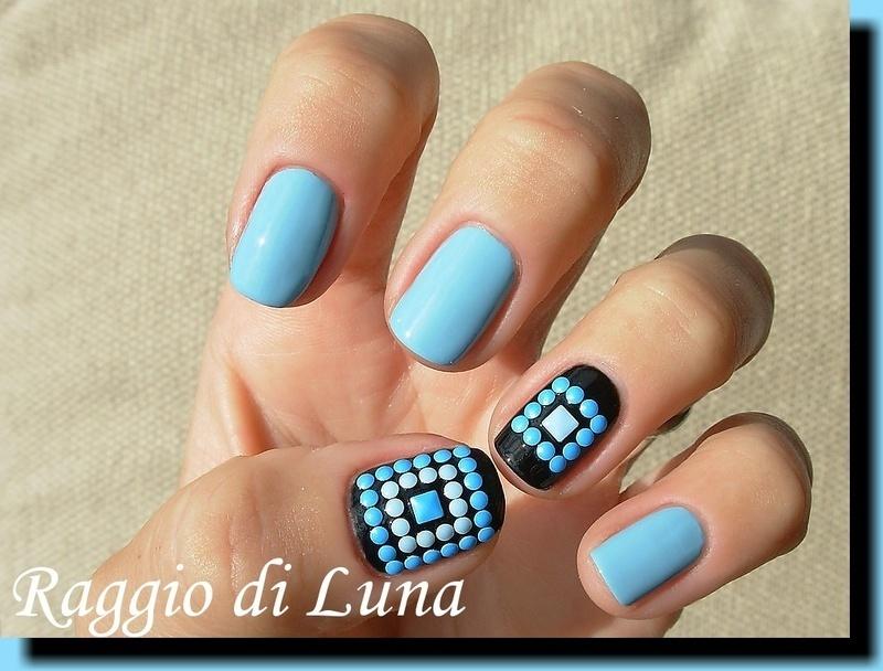 Blue square neon nail art studs squares nail art by Tanja