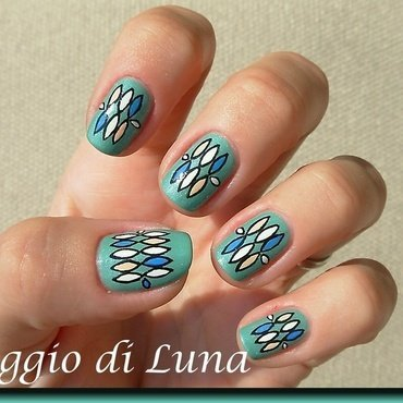 Abstract on lush green nail art by Tanja