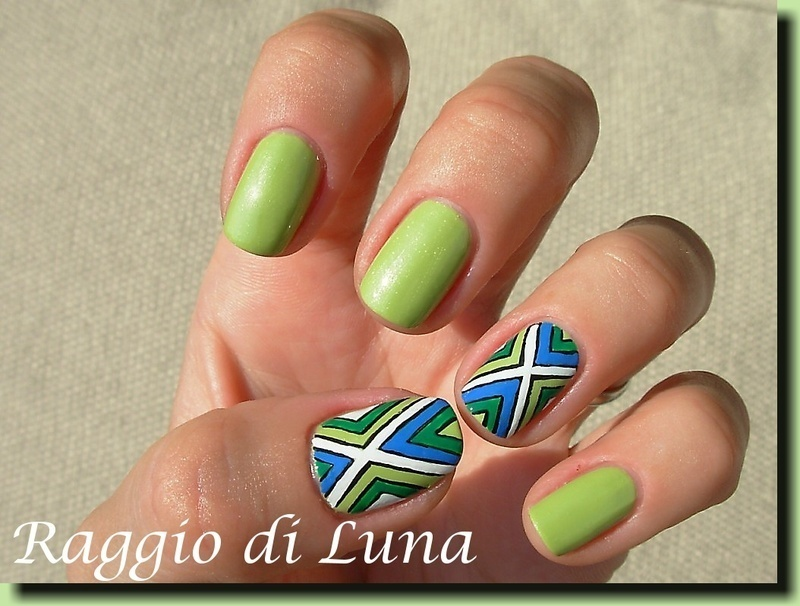 Abstract on lime green nail art by Tanja