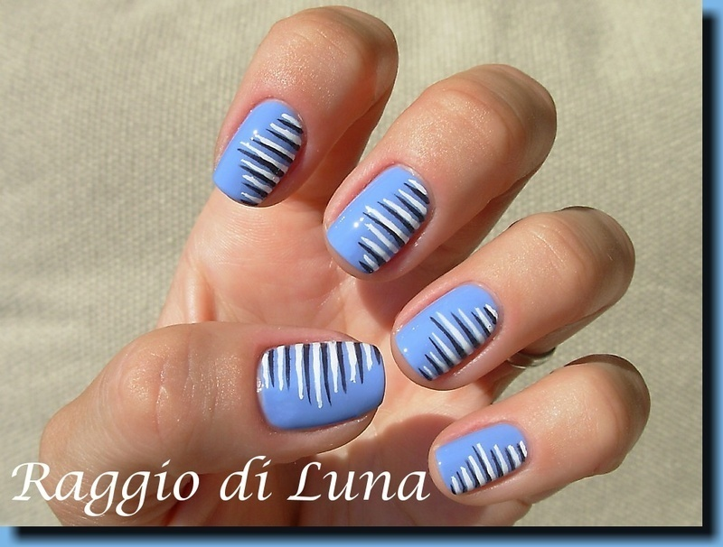 Just some lines on aqua cool nail art by Tanja