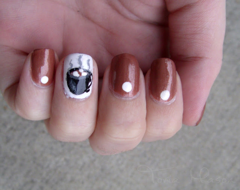 Hot Cocoa nail art by Toria Mason