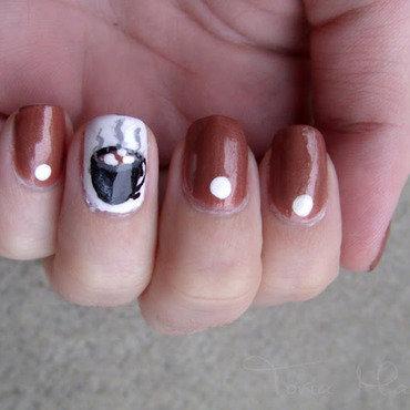 Hot Cocoa nail art by Toria Mason