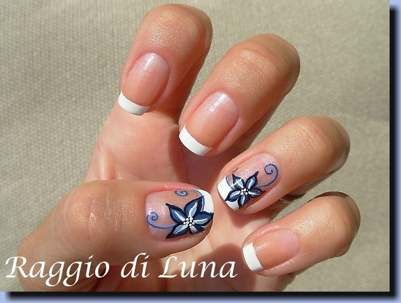 French manicure with blue flower nail art by Tanja - Nailpolis ...