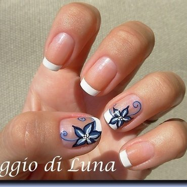 French manicure with blue flower nail art by Tanja