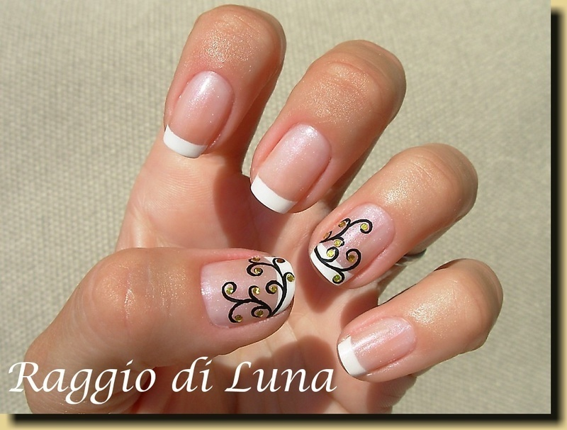 French manicure with golden coins tree nail art by Tanja