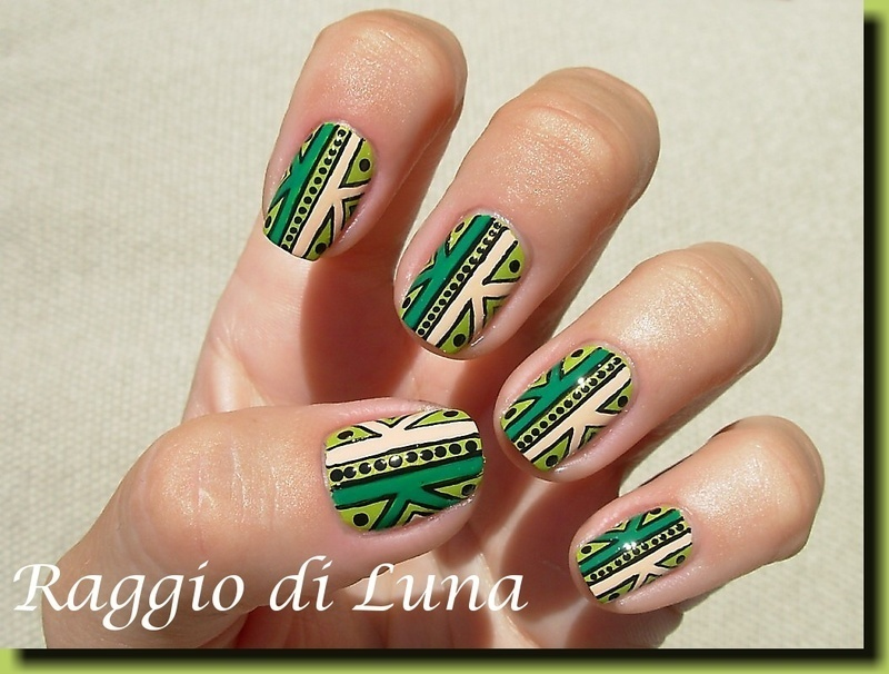 Tribal green manicure nail art by Tanja