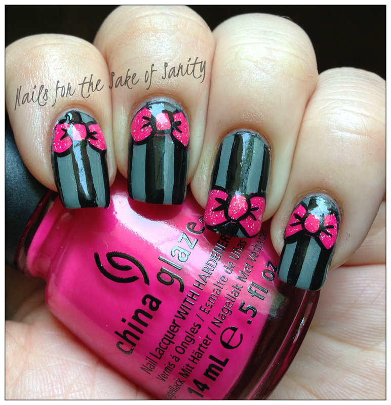 Bows and Stripes nail art by Kelly Callahan