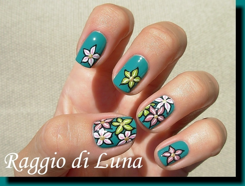 Flowers on green nail art by Tanja