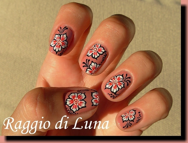 White & pink flowers pink nude nail art by Tanja