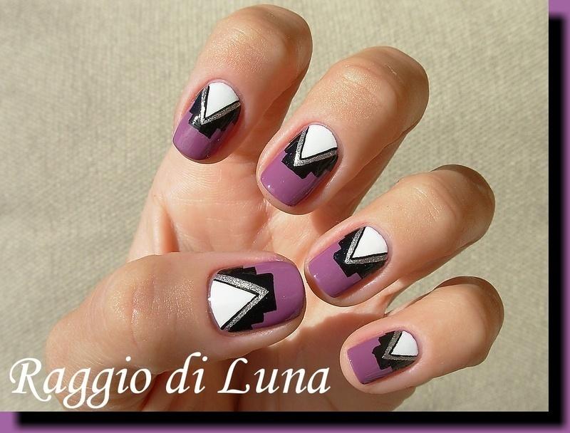 Simple tribal manicure on light plum purple nail art by Tanja