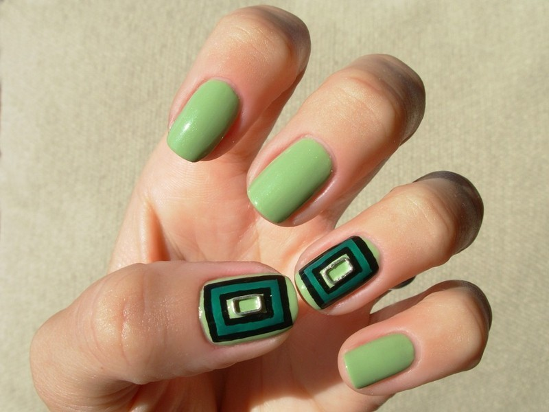 Metal nail art rectangle decoration on green rectangles nail art by Tanja