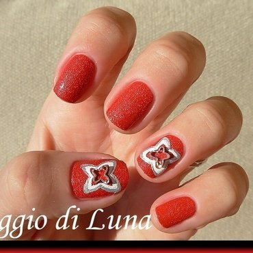 Metal butterfly on red nail art by Tanja