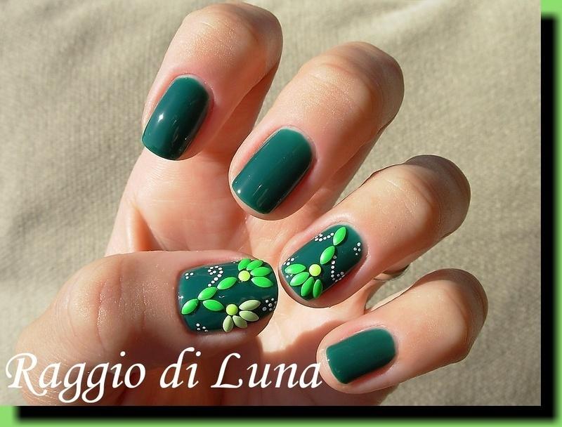 Leaf shape nail art stud flowers nail art by Tanja