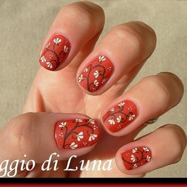 White flowers branch on red nail art by Tanja