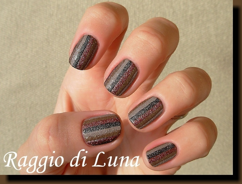 Textured stripes black & brown & taupe & burgundy nail art by Tanja