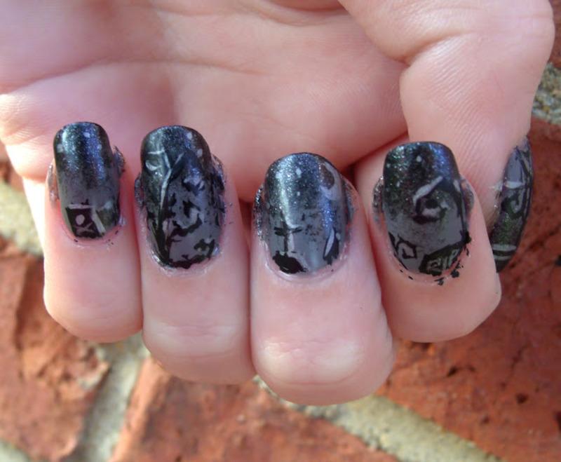 Tim Burton Inspired Graveyard nail art by Toria Mason