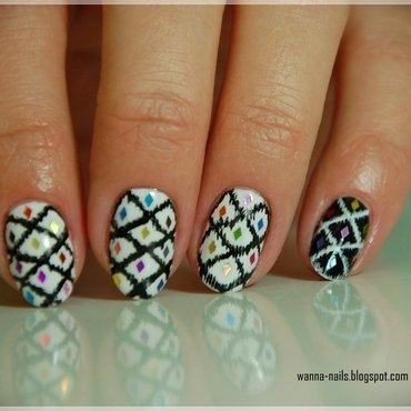 Ikat manicure nail art by Oana Chiciu