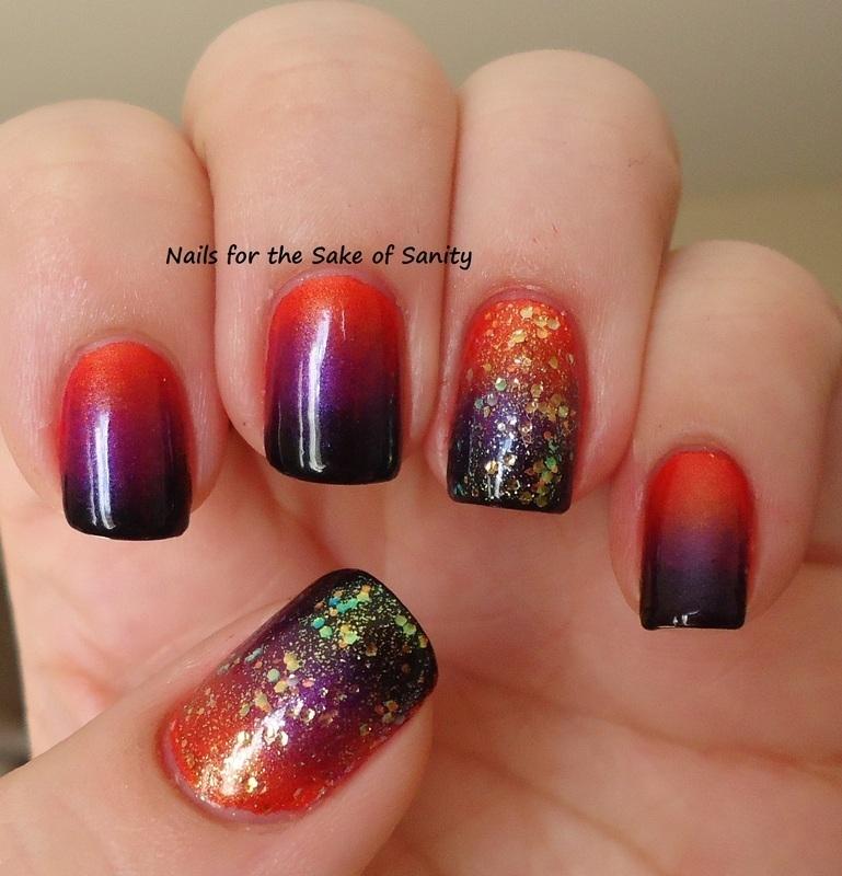 Halloween Gradient nail art by Kelly Callahan