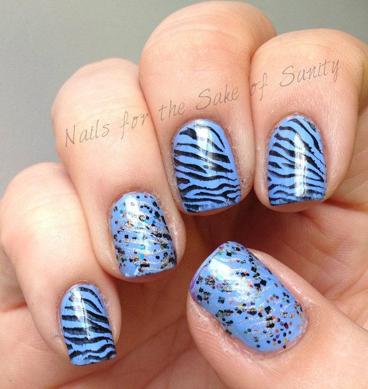 Zebra Stamping nail art by Kelly Callahan