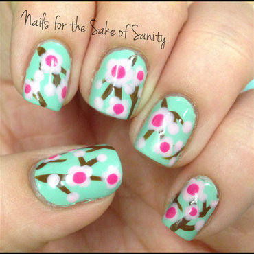 Cherry Blossoms nail art by Kelly Callahan