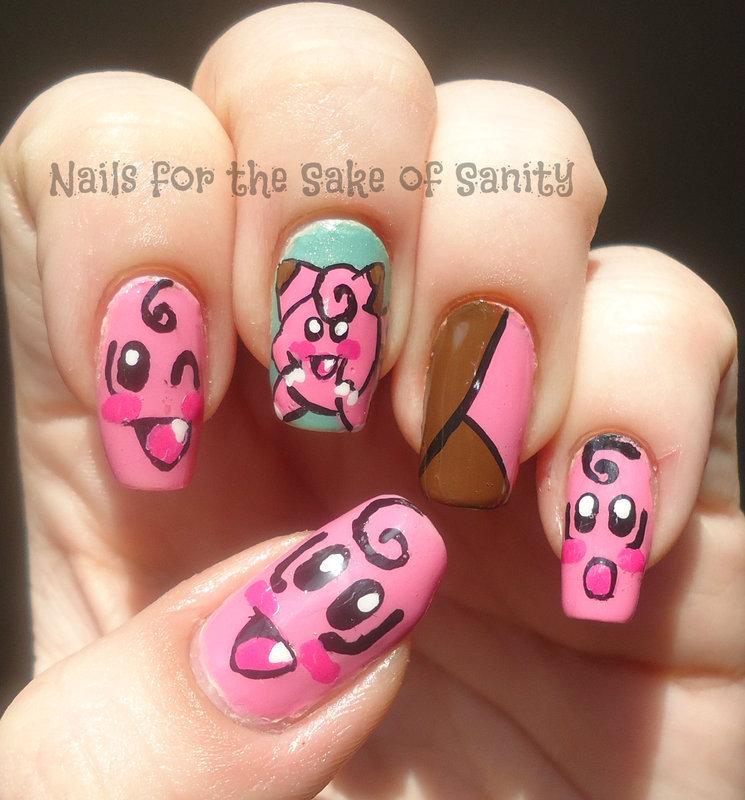 Clefairy nail art by Kelly Callahan