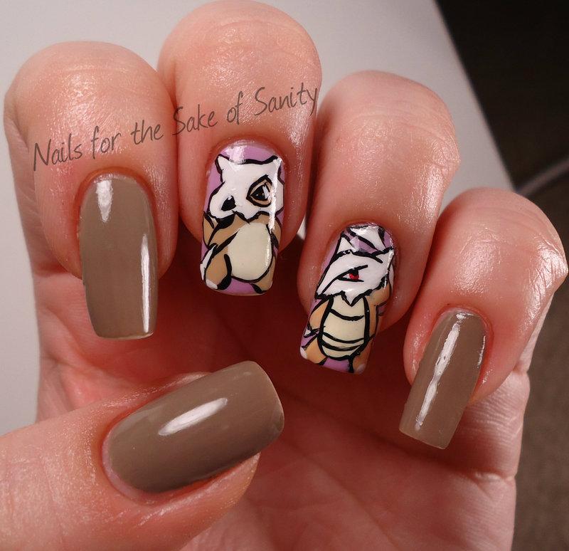 Cubone nail art by Kelly Callahan