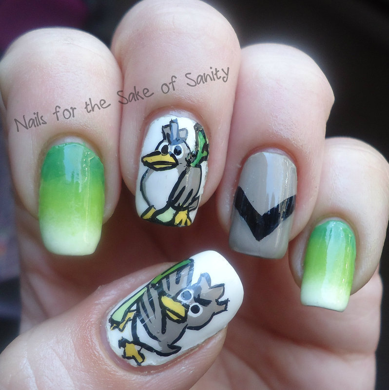 Farfetch'd nail art by Kelly Callahan