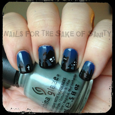 Halloween Graveyard nail art by Kelly Callahan