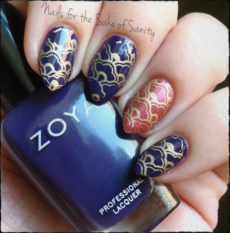 Moroccan Inspired Stamping nail art by Kelly Callahan