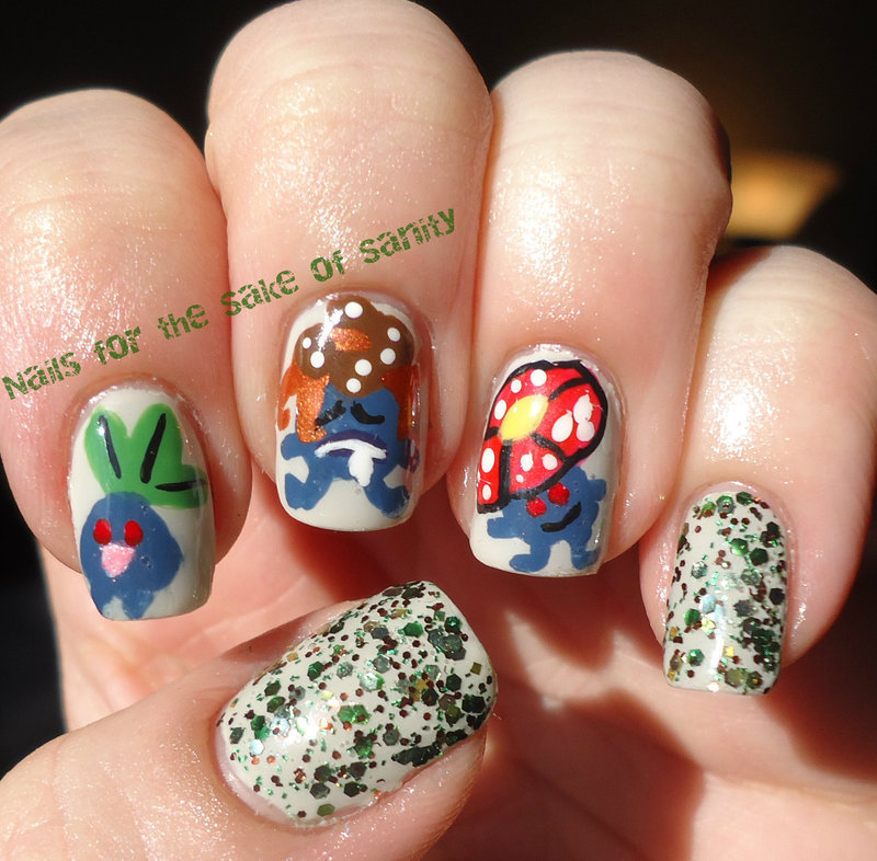 Oddish and Evolutions nail art by Kelly Callahan