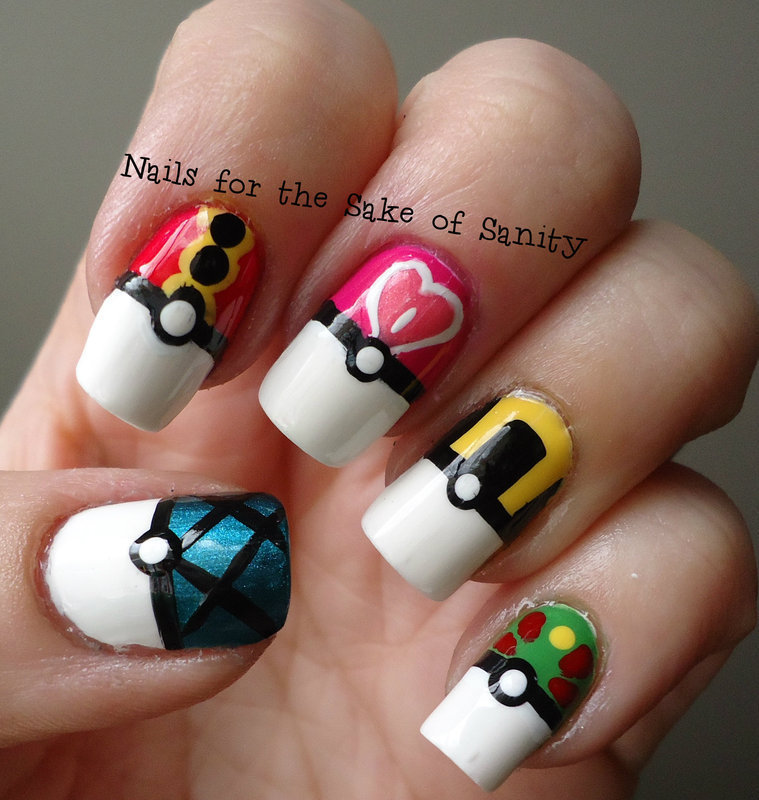 Pokeballs nail art by Kelly Callahan