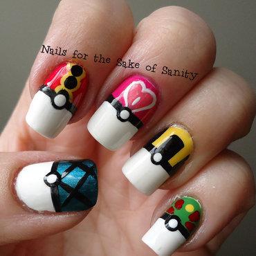 Pokeballs nail art by Kelly Callahan