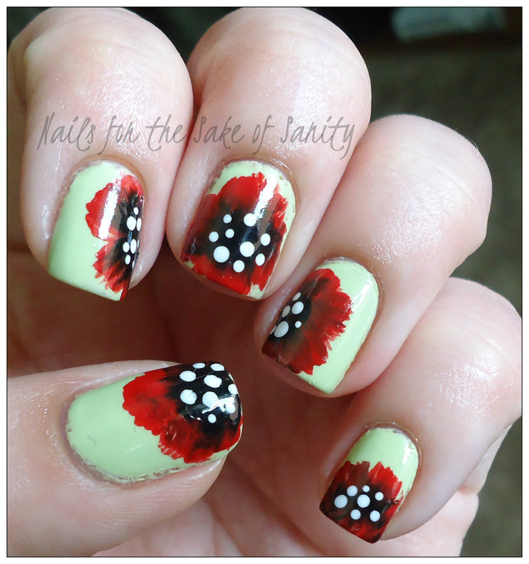 One Stroke Poppies nail art by Kelly Callahan
