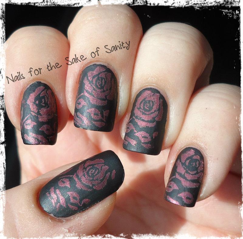 Mentality Stamped Roses nail art by Kelly Callahan