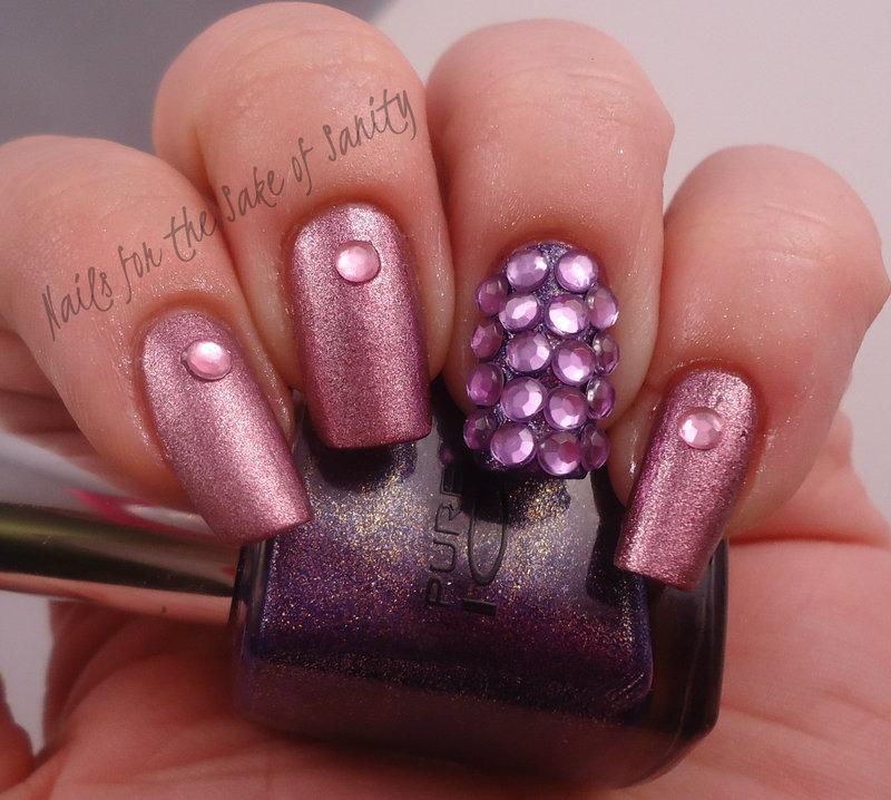 Rhinestones nail art by Kelly Callahan