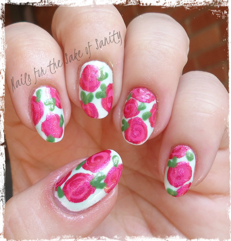 Swirled Roses nail art by Kelly Callahan