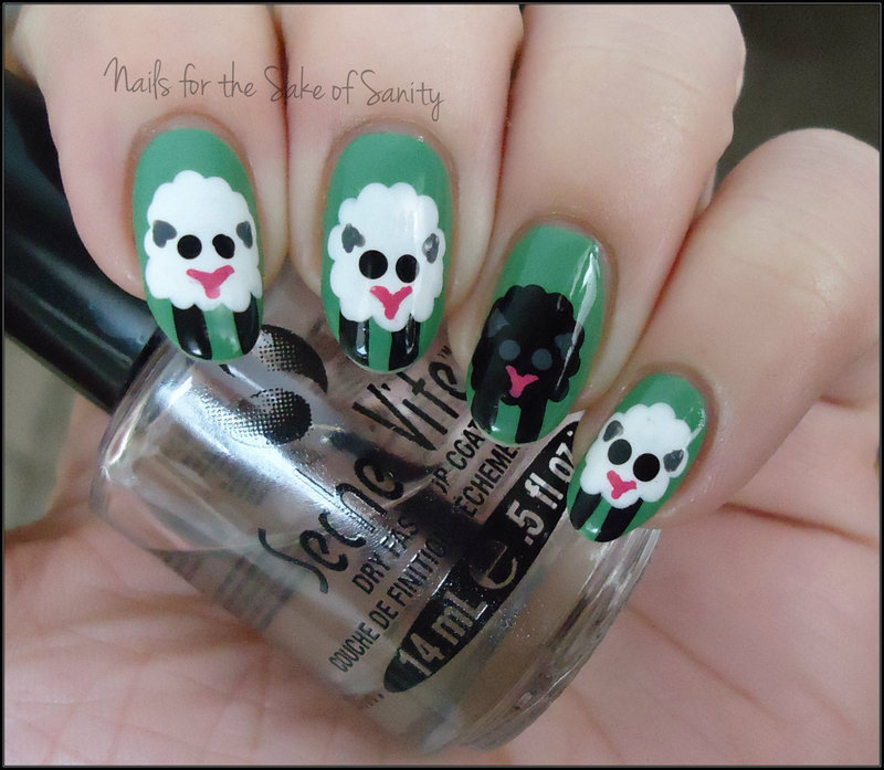 Sheep nail art by Kelly Callahan