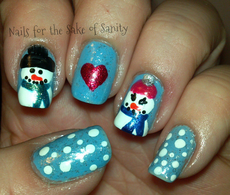 Snowmen Love nail art by Kelly Callahan