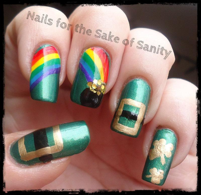 St. Patrick's Day nail art by Kelly Callahan