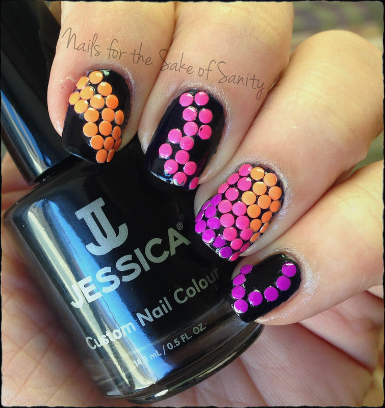 Neon Studs nail art by Kelly Callahan