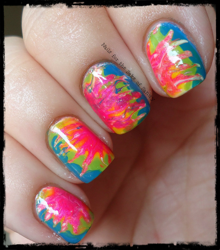 Tie-Dye Dry Marble nail art by Kelly Callahan