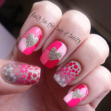 Valentine's Colorblock and Dots nail art by Kelly Callahan