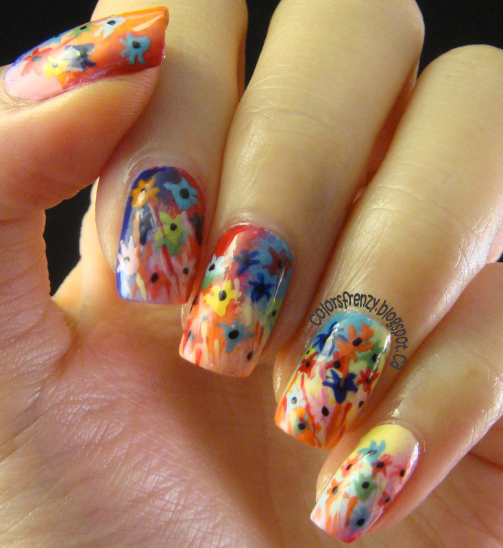 Floral Painting nail art by Novi