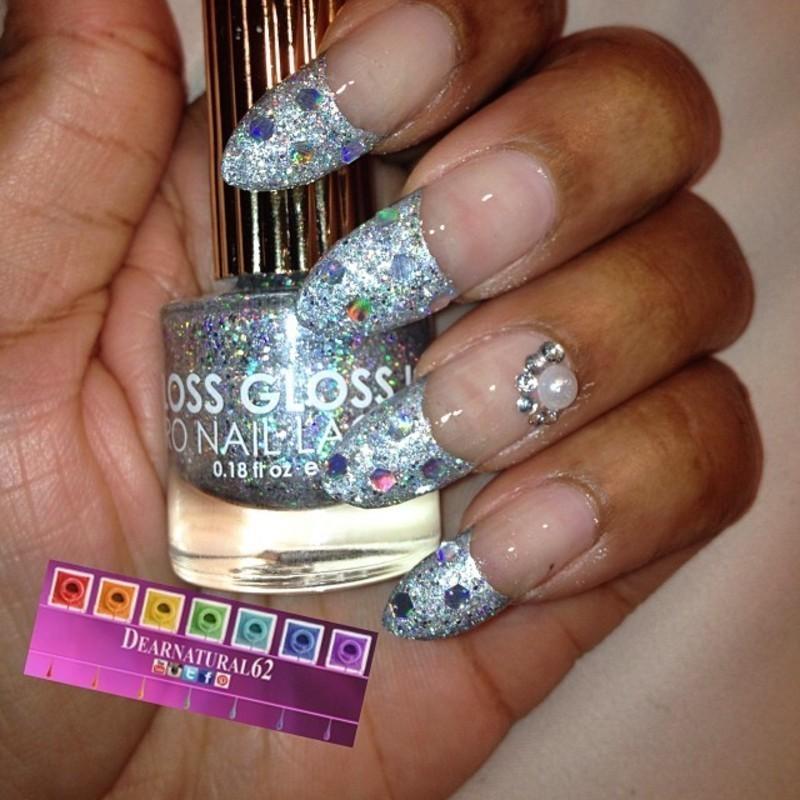 Glitter French Twist nail art by Dear