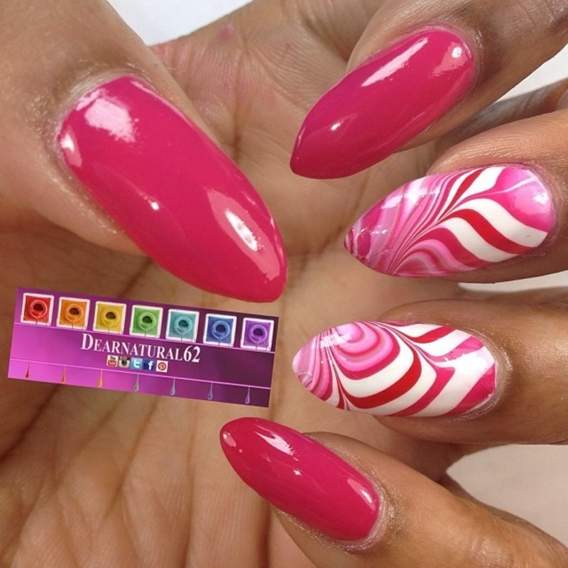 Valentine's Water Marble nail art by Dear