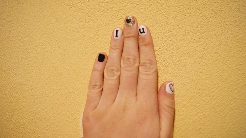 I <3 U nail art by DesperateCry