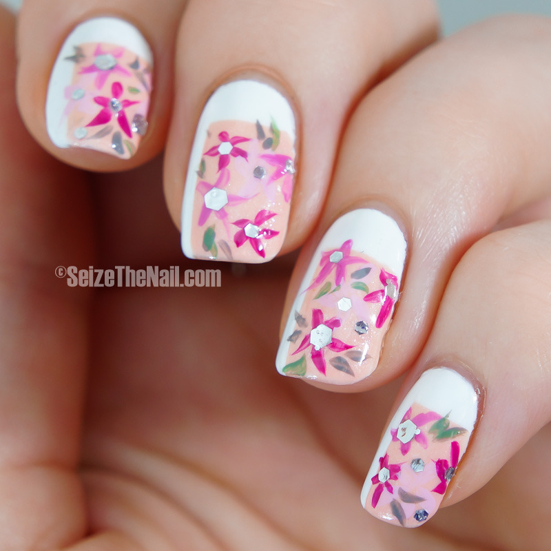 Spring pastel flowers nail art by Bella Seizethenail