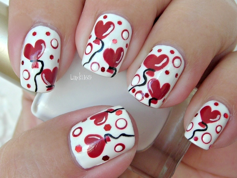 Heart Ballons nail art by Iliana S.